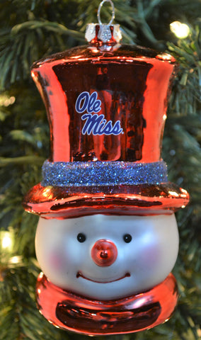 Ole Miss Rebels Glass Snowman Ornament