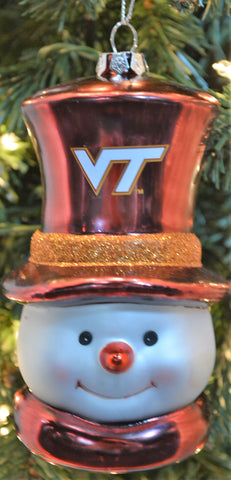 Virginia Tech Hokies Glass Snowman Ornament - Blazin' Buddy