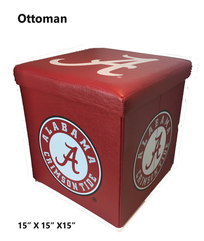 Alabama Crimson Tide Square Storage Ottoman