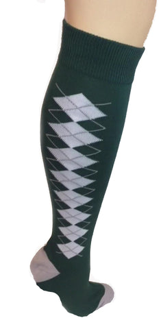 Green, White and Grey Diamond Socks - Blazin' Buddy