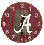 Alabama Crimson Tide Rustic State Wall Clock