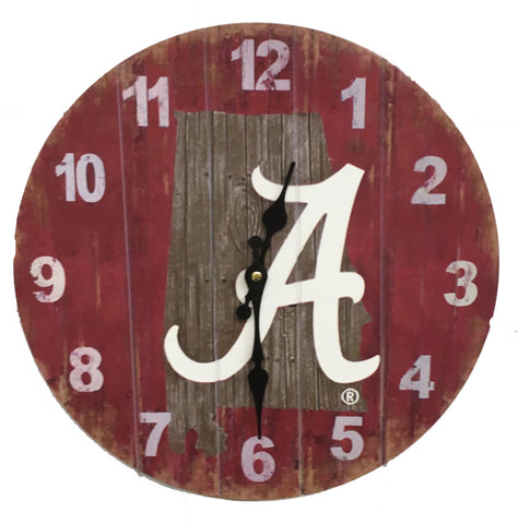 Alabama Crimson Tide Rustic State Wall Clock - Blazin' Buddy