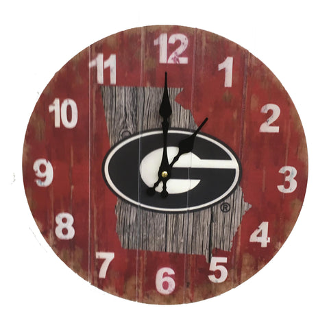 Georgia Bulldogs Rustic State Wall Clock