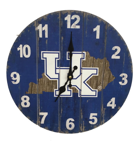 Kentucky Wildcats Rustic State Wall Clock - Blazin' Buddy