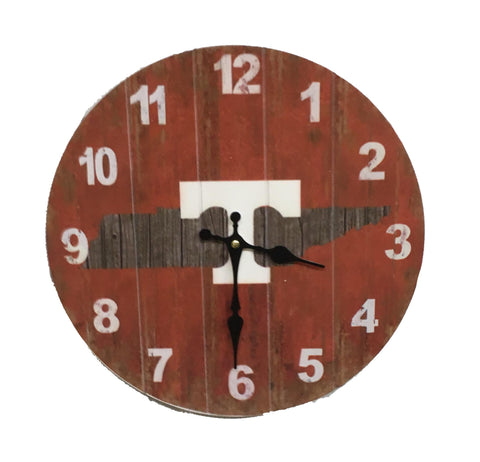Tennessee Volunteers Rustic State Wall Clock - Blazin' Buddy