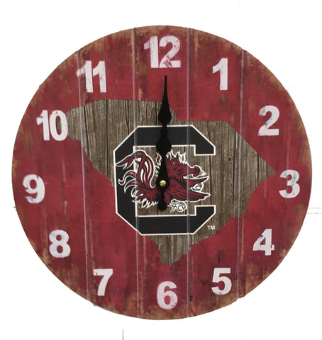 South Carolina Gamecocks Rustic State Wall Clock