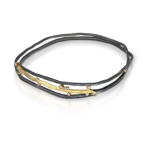 Meandering Line silver and gold bracelet
