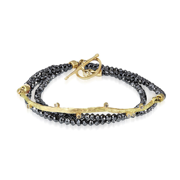 Meanderling Line Black Diamond Wrap Bracelet