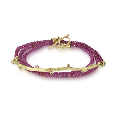 Meanderling Line Ruby Wrap Bracelet