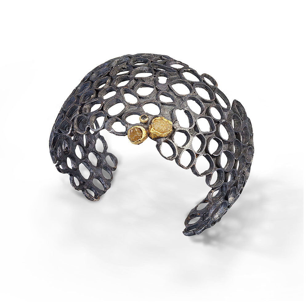 Urban Beehive Cuff with natural diamonds