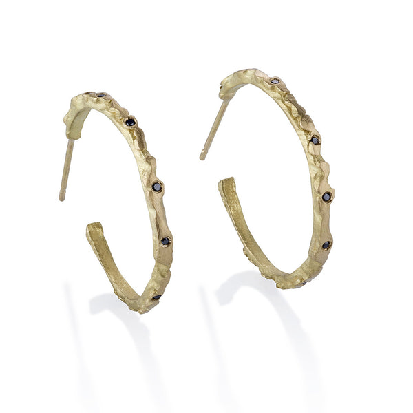 Pebble and Stone Diamond Hoops
