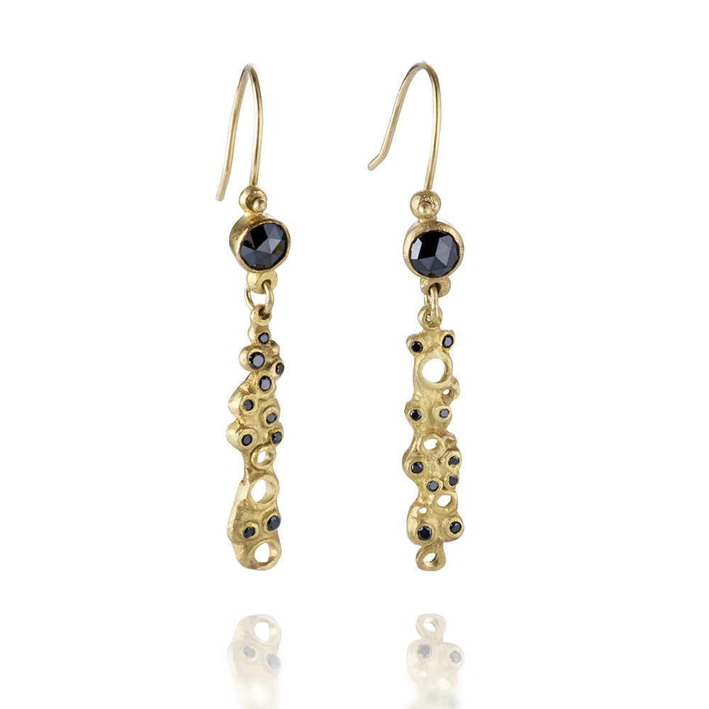 Black Diamond Scribble Earrings