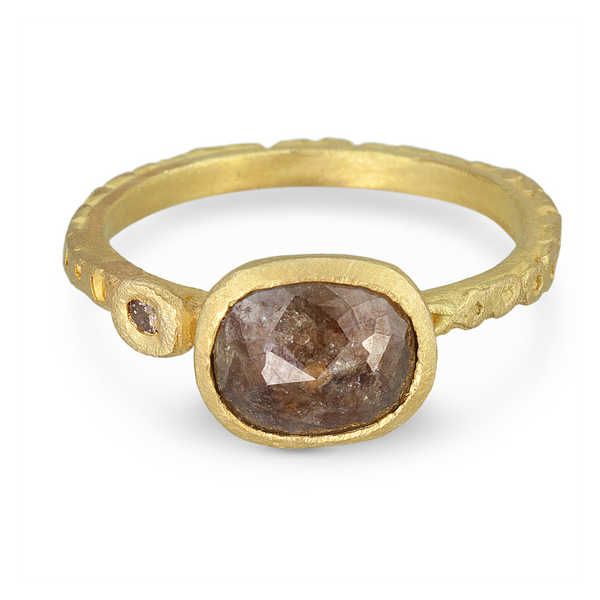 Pebble Series Rose Cut Oval Diamond Ring