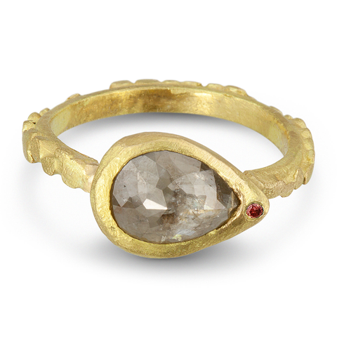 Pebble Series Rose Cut Pear Diamond Ring