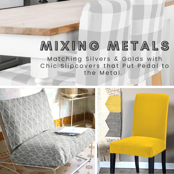Mixing Metals in the Living Room:  Matching IKEA Chair Slipcovers with Silver and Gold
