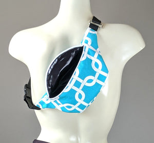 Turquoise Blue Geometric Fanny Pack