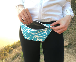 Blue Palm Leaves Fanny Pack