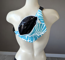 Load image into Gallery viewer, Blue Palm Leaves Fanny Pack