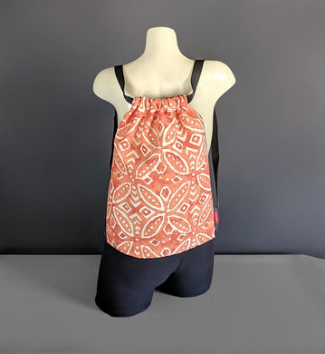 Batik Orange Drawstring Bag