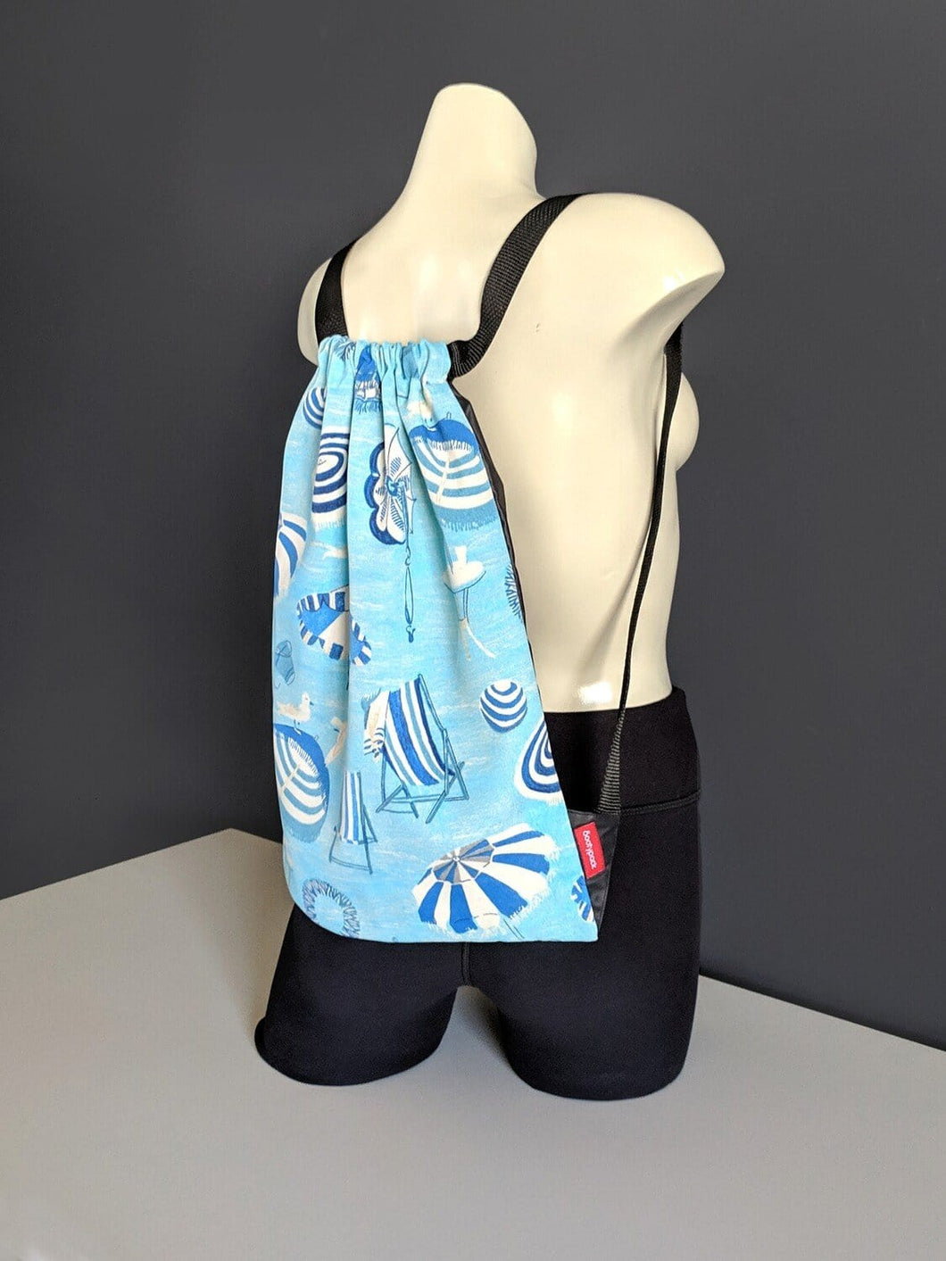Seaside Blue Drawstring Bag