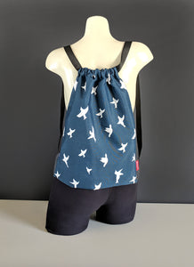 Navy Blue Bird Drawstring Bag