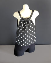 Load image into Gallery viewer, Black White Polka Dot Drawstring Bag