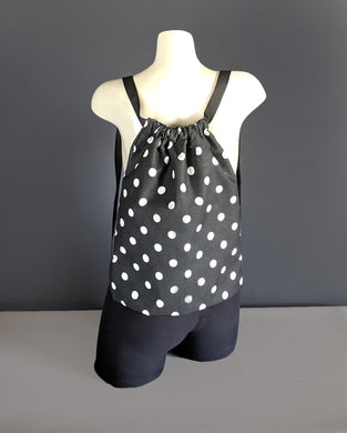 Black White Polka Dot Drawstring Bag