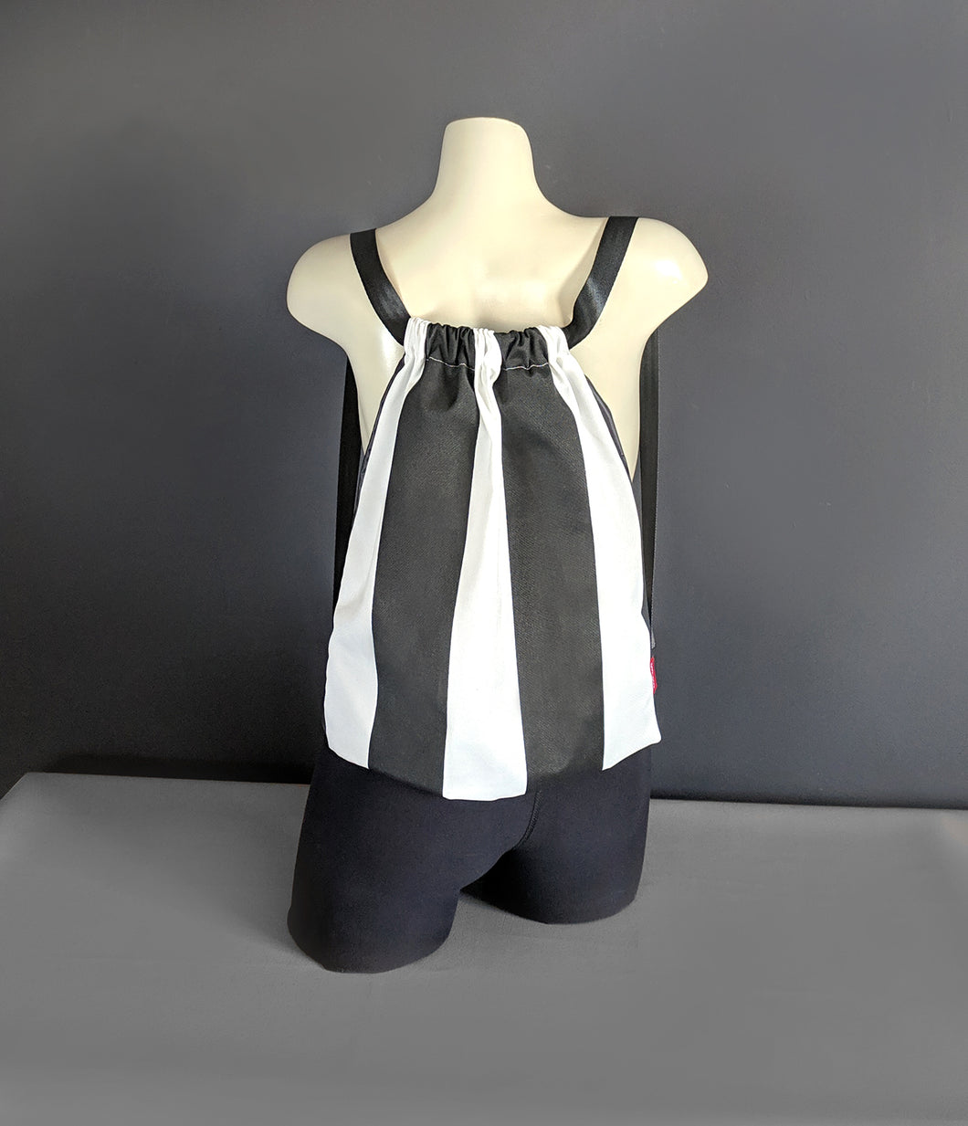 Black White Vertical Stripe Drawstring Bag