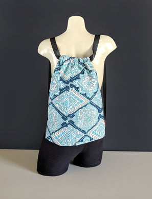 Blue Diamond Drawstring Bag