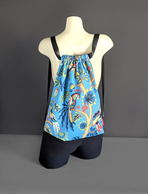 Jungle Blue Drawstring Bag