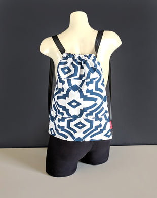 Navy Blue Graphic Drawstring Bag