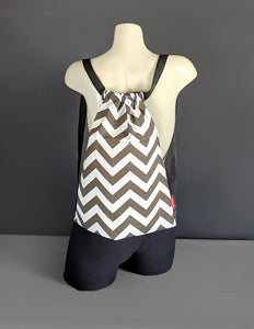 Brown Chevron Drawstring Bag