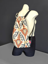 Load image into Gallery viewer, Ikat Brown Drawstring Bag