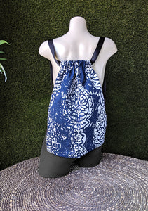 Navy Blue Boho Drawstring Bag