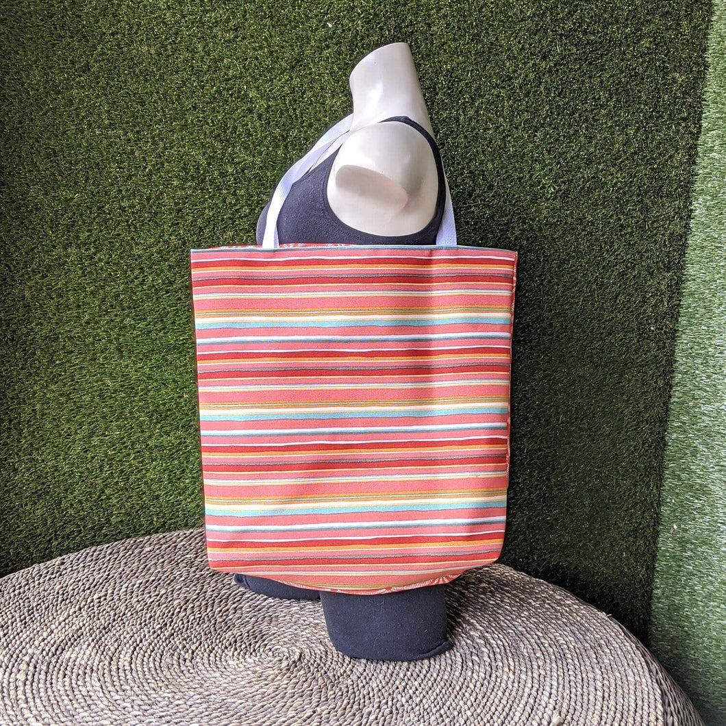 Red Stripe Beach Tote