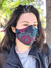 Load image into Gallery viewer, Pack of Black Pink Floral Print Face Masks, Washable, Reusable, Double Layer for Smog, Pollen, Dust, Smoke. HEADBAND