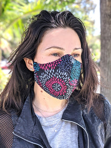 Pack of Black Pink Floral Print Face Masks, Washable, Reusable, Double Layer for Smog, Pollen, Dust, Smoke. HEADBAND