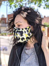 Load image into Gallery viewer, Pack of Neon Yellow Animal, Leopard Print Face Masks, Unisex, Washable, Reusable, Double Layer for Smog, Pollen, Dust, Smoke. HEADBAND