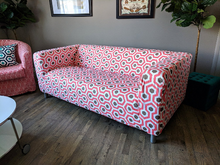 Load image into Gallery viewer, IKEA KLIPPAN Slip Cover, Coral Pink Geometric Honeycomb Print
