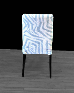 Pair Blue Zebra Print Henriksdal Dining Chair Covers