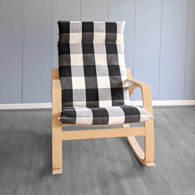 IKEA Poang Farmhouse Black Buffalo Check