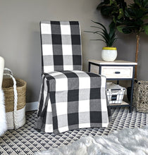 Load image into Gallery viewer, IKEA Henriksdal Dining Chair Cover, Plaid Buffalo Check Black
