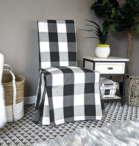 IKEA Henriksdal Dining Chair Cover, Plaid Buffalo Check Black