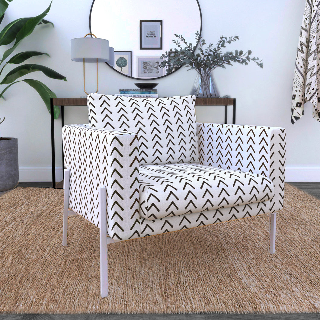 IKEA KOARP Armchair Covers, Arrows Tribal Print, African Ikea Decor, Beige Mudcloth Chair Cover