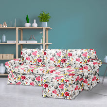 Load image into Gallery viewer, IKEA EKTORP Sofa Slip Cover, White Floral Ebony