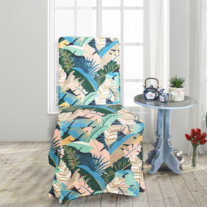 Blush Pink, Teal Jungle Print IKEA HENRIKSDAL Dining Chair Cover