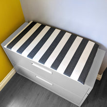 Load image into Gallery viewer, Sunbrella Black Beige Stripe Print IKEA Hemmahos Bench Pad Slip Cover