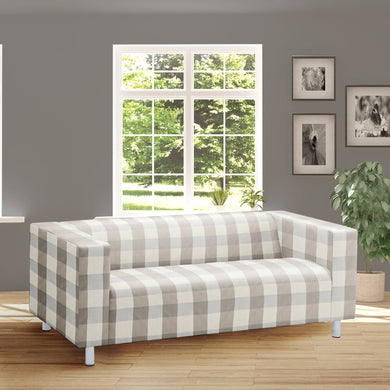 Beige Buffalo Check Plaid IKEA KLIPPAN Loveseat Slip Cover