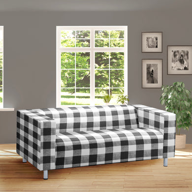 Black White Gingham IKEA KLIPPAN Loveseat Slip Cover