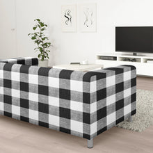 Load image into Gallery viewer, Black White Gingham IKEA KLIPPAN Loveseat Slip Cover